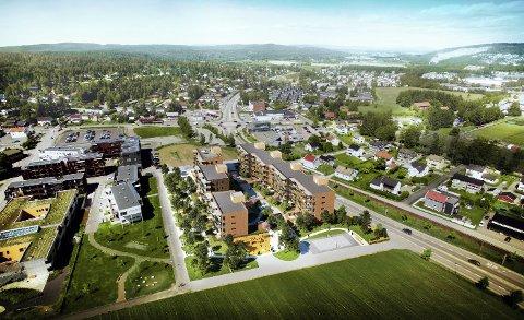 På Husebyjordet: Snart bygges store deler av Husebyjordet på Skedsmokorset ned. Inn skal beboere på 50+.