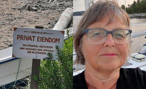 PRIVATSTRAND: Frøydis Ulvin ble matt når hun oppdaget dette skiltet på stranden ved båthavnen i Storsand.