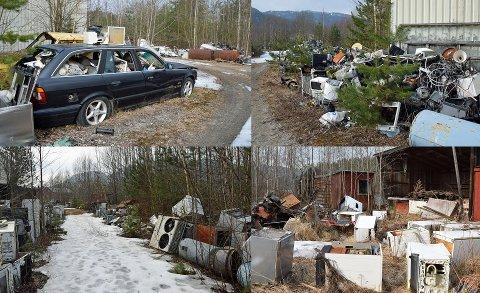FORSØPLING: Disse bildene viser noe av den enorme forsøplingen på eiendommen. Bildene er tatt i mars i fjor.