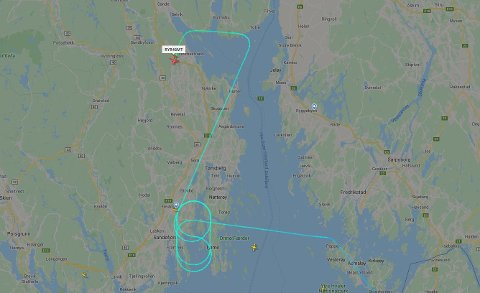 Flyet ble nødt til å ta noen runder over Vestfold før det kunne lande på Torp tirsdag ettermiddag.