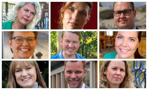 Disse stiller til debatt: Suzy Haugan (V), Lene Westgaard-Halle (H), Truls Vasvik (Ap), Kathrine Kleveland (Sp), Julie Estdahl Stuestøl (MDG), Anders Tyvand (Krf), Anders Mathisen (Frp), Maren Kurdøl (Rødt) og Grete Wold (SV).