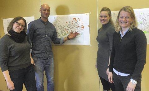 Prosjekt: Kristne Presterud (f.v.) og Sander Dekker fra Norconsult, prosjektansvarlig Kristi Westerbø i Nord-Aurdal kommune og Cecilia Jahr, som ledet workshopen.