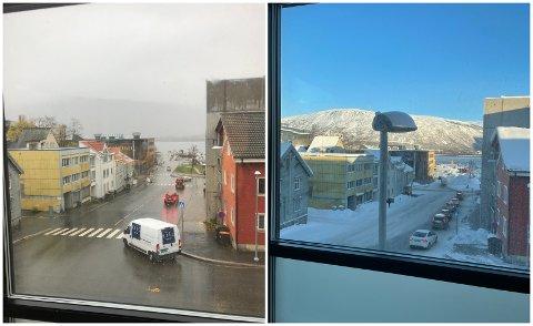 FØR OG ETTER: Bildet til venstre er tatt på forhåndsbefaring av leiligheten i oktober 2020. Bildet til høyre viser utsikten ved innflytting, en måned senere.