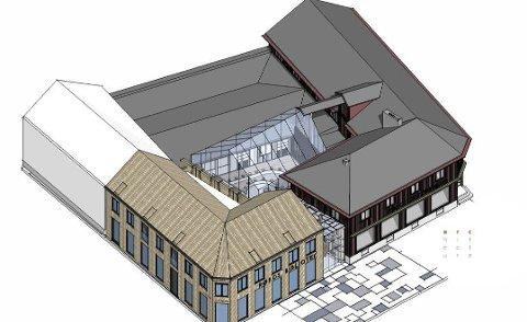 NYTT BIBLIOTEK: Slik kan bygget bli hvis Coop bygger nytt bibliotek på Nilsenhjørnet.