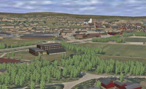 Folkehøgskole: Slik kan det se ut på Øra når folkehøgskolen står ferdig. Dette er en modell som ikke er bindende, men illustrerende for utbyggingsrammen det åpnes for.