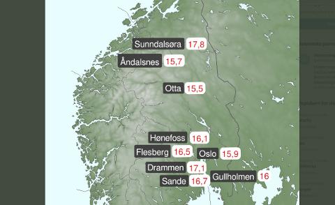 Varmt: Sunndal er øverst på varmetoppen natt til fredag. Foto: Meteorologisk Institutt / Twitter.