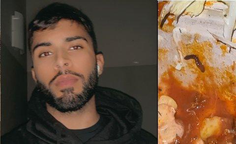REAGERER: Rizwan Ahmad (23) reagerer på at han fant larve i kebaben sin i går.