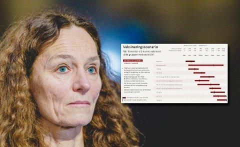 Direktør i Folkehelseinstituttet, Camilla Stoltenberg, seier AstraZeneca-vaksinen blir gitt i to dosar, med fire til tolv vekers mellomrom. skal gis i to doser, med fire til tolv ukers mellomrom.