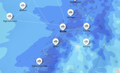 NATT TIL FREDAG: Det blir nok av nedbør i Salten natt til fredag. Her fra klokken 03 om natten på Yr sitt værkart.