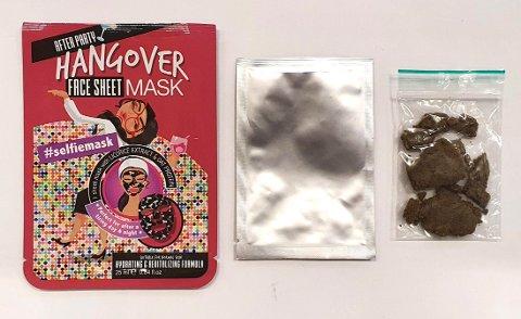 """Lørenskog 20200825.  Sendingen fra Nederland til mann i Harstad inneholdt 11 gram hasj i en """"hangover-ansiktsmaske"""" som skulle kurere dagen derpå. Foto: Tolletaten / NTB scanpix"""