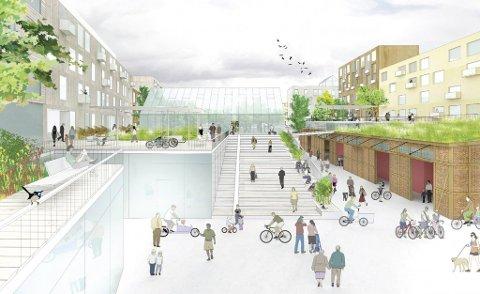 Slik ser arkitektenes visjon for Grønneviken ut. Det blir neppe seende ut akkurat slik, men prinsippene om åpne byrom og store fellesområdet ligger til grunn.