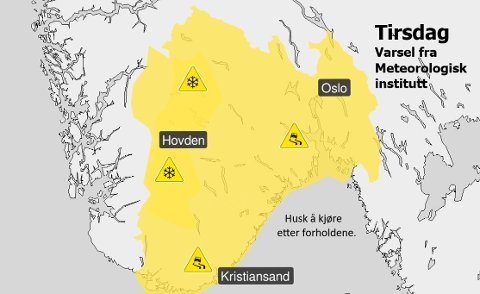 FAREVARSEL: Tirsdag er det ventet fare for is og underkjølt regn.