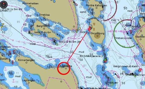 800 METER: Bare noen få hundre meter unna drukningsulykka lå redningsskøyta. Men noe forespørsel om å hjelpe fikk de ikke. Første ambulanse var på stedet etter 13 minutter. Skjermdump: RS SafeTrx