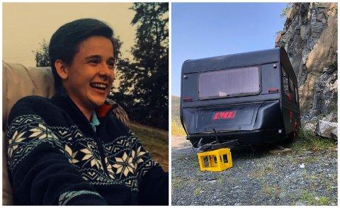 FESTVOGN: Martin Øverås Birkeland og gutegjengen kjøpte ei festvogn der dei kunne samlast under koronapandemien.
