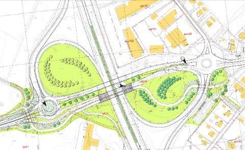"""""""Nye"""" Årum-krysset: Denne skissen er Statens vegvesens løsning på trafikkproblemene i Årum-krysset. I denne saken forklarer vi hva den betyr og hva veiplanleggerne vil gjøre."""