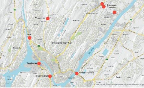 HER KOMMER BOMMENE: Fredag klokken 18.00 starter innkrevingen av bompenger ved disse passeringspunktene.