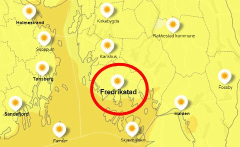 Jo lysere gulfarge, jo lavere temperatur er det. Bildet viser yr.nos værradar for mandag morgen klokken ni, da temperaturen kryper over ti grader i Fredrikstad.
