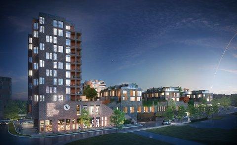 Dette er det nye Værstetorvet-prosjektet sett fra Nav-bygget. Første etasje vil bestå av shoppingmuligheter og parkering, mens boligdelen der hevet opp fra bakken.