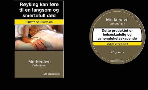 SLIK: Illustrasjon av standardiserte pakninger med EUs nye helseadvarsler. Foto: Helsedirektoratet