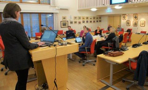 ORIENTERTE: Kommunalsjef Solveig Olerud orienterte det nye formannskapet om sitt ansvarsområde som er helse og mestring. Rundt bordet ser vi fra venstre: Ordfører Harald Tyrdald (Ap), rådmann Dag Flacké, Nils Erik Mossing (Ap), Hanne Gabrielsen (Ap), Line Jorung (H), Mari Svenbalrud (SV), Marthe Grina (Sp) og varaordfører Andreas Ensrud (Sp).