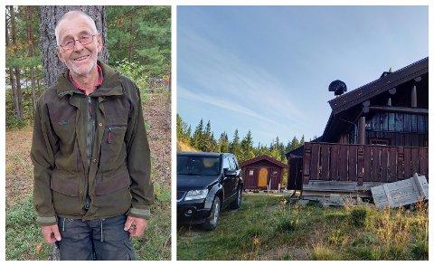TIUR PÅ TAKET: Tor Olsrud fra Jevnaker fikk en artig opplevelse på hytta.