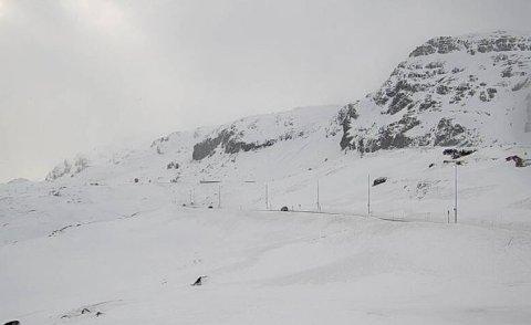 MINKER IKKE MED DET FØRSTE: Ifølge meteorolog Per Egil Haga er det ikke bedring i sikte på Haukelifjell. Her fra Midtlæger.