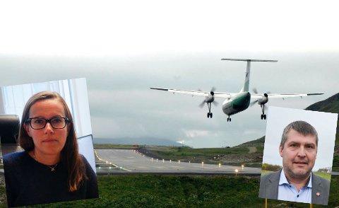RYKENDE UENIG: Bengt Rune Strifeldt(FrP) og Marianne Sivertsen Næss (AP) er rykende uenige når det kommer til ny flyplass i Hammerfest. Fotomontasje.
