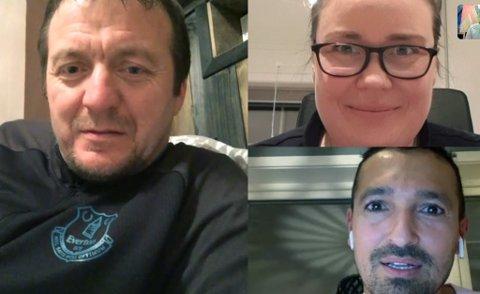 MØTTES: Trond-Olav Olsen (t.v.), Hilde Møllenes og Adrian Paul møttes over skjerm, og snakket om veien videre.