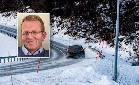 Denne uken kom det første snøvarselet for regionen etter sommeren. Gunnar Bendixen opplevde ikke snø fredag morgen, men glatte veier. I området har han flere ganger tidligere møtt biler som har havnet utfor. Illustrasjonsfoto