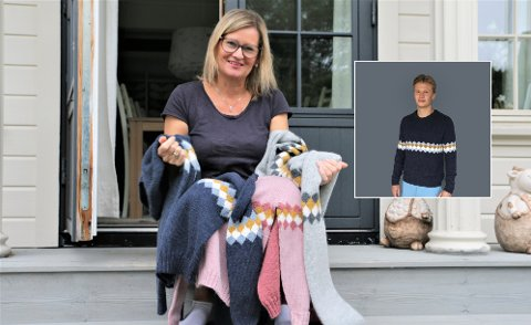 STRIKKETANTE: Trude Håland er Erling Braut Haalands tante, som har strikkedilla. Hun har designet en egen genser til nevøen.