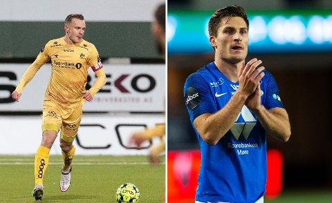 GULLKANDIDATER: Både Marius Lode (t.v) i Bodø/Glimt og Kristoffer Haugen i Molde regnes for å være på to av lagene som er de heteste gullkandidatene før starten på Eliteserien 2021.