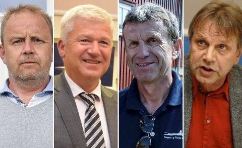 GÅR SAMMEN: F.v.: ordfører Grunde Wegar Knudsen (Sp) og de tidligere ordførerne Jone Blikra (Ap), Kåre Preben Hegland (H) og Erling Laland (Ap).