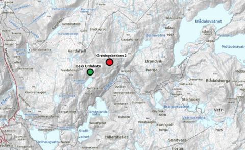 TILRÅR: NVE rådde denne månaden Olje- og Energidepartmentet til å gje SKL løyve til å overføra Grøningsbekken 2 og Bekk Urdabotn til Blåfall III kraftverk. (Oversiktskart: NIBO).
