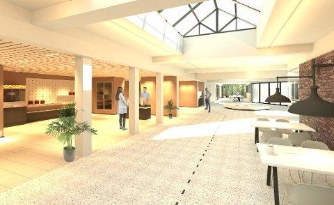 Dette er ei av dei første skissene arkitektane presenterte for «Møteplass Husnes».