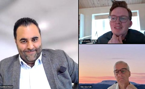 PÅ OFFENSIVEN: Aps stortingsrepresentant Masud Gharahkhani (til venstre), stortingskandidat Even Røed (øverst) og Jonas Gahr Støre (nederst) var offensive da de pratet med Lp om Kongsbergindustrien og dens utfordringer og muligheter.