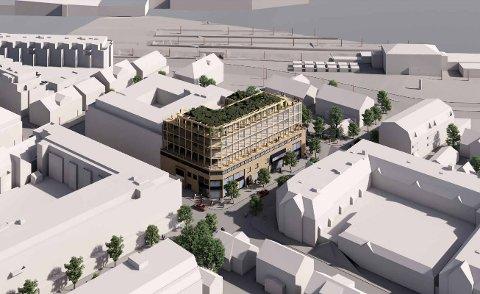 FORSLAG: Slik har arkitekt Tore Wiig foreslått at en utvidelse av sentrumseiendommen kan se ut.