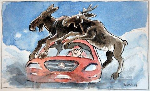 Januar ble ekstrem: I Midtre Hålogaland politidistrikt ble det i januar 2016 i snitt et sammenstøt mellom vilt og bil hver eneste dag. I den forbindelse laget billedkunstner Dagfinn Bakke denne illustrasjonen: Se egen oversikt over registrerte elgpåkjørsler i egen sak. Tegning: DAN