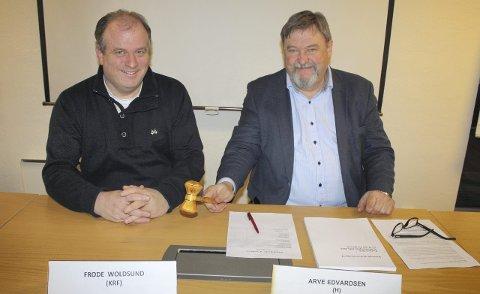 Møteklare: Bydelsutvalgets leder, Arve Edvardsen (t.h.) , og nestleder Frode Woldsund er klare til å lede lokalpolitikerne gjennom årets siste BU-møte torsdag 17. desember. Foto: Aina Moberg