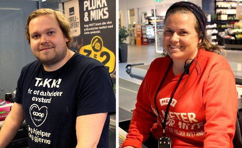 MED I FINALEN: Ole Magnus Engeseth og Tiril Smith jobber i hver sin butikk på Oppsal. De er begge med som representanter fra Oslo i finalen til å bli Norges hyggeligste kassamann eller kassadame i 2021.