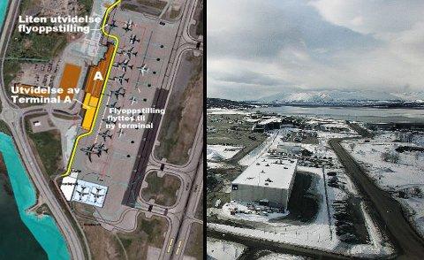 Illustrasjonen til venstre viser planene for utvidelsen av flyplassen. Mens det gule er forlengelsen av hovedterminalen, er det røde den eksisterende terminalen. Det er også markert et rødt område nord-vest for flyplassen. Det viser hvor utbyggingen av terminalen er tenkt å gå på langt sik Foto: Avinor/Torgrim Rath Olsen