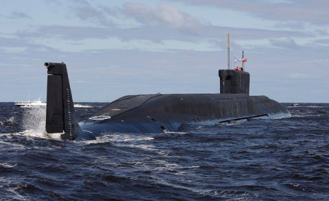 The Yuri Dolgoruky, a Russian nuclear submarine, is seen in the waters off Severodvinsk in this July 2, 2009 file photo. The submarine, slated to carry Russia's next generation of strategic missiles, has been called back from sea trials, possibly delaying deployment, a top weapons designer said on Monday. The Borei-class submarine was designed to carry the nuclear-capable Bulava intercontinental missiles, which the Kremlin hopes to make the cornerstone of its arsenal over the next decade. REUTERS/Alexander Zemlianichenko/Pool/Files   (RUSSIA POLITICS MILITARY)