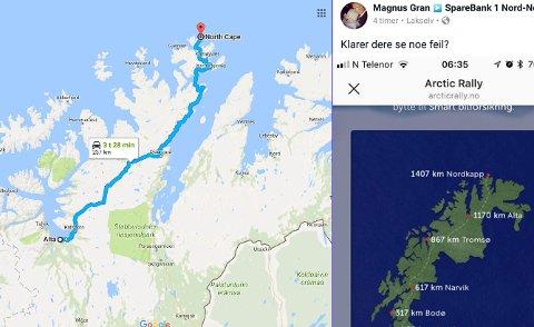 NEI, NEI, NEI: Nordkapp-platået er målet for mobilspillet, men på kartet til Sparebanken Nord-Norge er platået plassert nær Mehamn i Gamvik kommune. Alta er plassert i Porsangerfjorden, nær Lakselv (Google-kart til venstre i bildet).