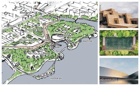 KULTURSTRANDA? Slik skissere de danske arkitektene Urban Power utviklingen av Huntonstranda. De mener området bør preges av kulturaktiviteter og musikk, i samspill med naturen og vannet.