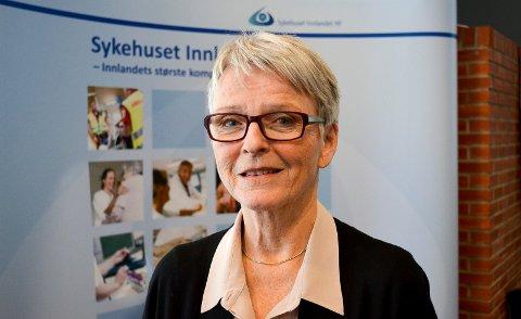 KAN BLI UTSATT: Anne Enger, styreleder i Sykehuset Innlandet, innser at byggestart for Mjøssykehuset trolig ikke blir før i 2025. (Foto: Bjørn-Frode Løvlund)