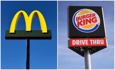 DE TO STORE: McDonald's er på plass i Elverum, mens Burger King snart følger etter. Sistnevnte har justert logoen sin etter at bildet ble tatt. Illustrasjon: Nils Henning Vespestad og NTB