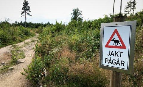 ADVARSEL: I dette skogholtet, rett ved golfbane og ikke langt unna Hellastranda, advarer grunneieren om jakt.