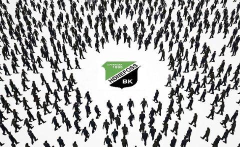 I retning hbk: Mandag er det dugnad for å få flest mulig mennesker til å bevege seg i retning av Hønefoss Ballklubb. Illustrasjon: Terje Andersen