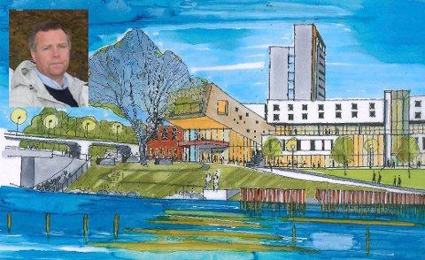 GLATVED: Slik kan hotellet bli seende ut fra Glatved brygge, men skissene er foreløpige, og prosjektet ligger ikke inne i forslaget til byplanen.