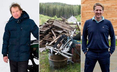 SKYLDER PÅ HVERANDRE: Tidligere eier Martin Brodahl (t.v.) og dugnadsleder Pelle Gangeskar blir ikke enige om hvem som er skyld i forsøplingen på Ringkollen.
