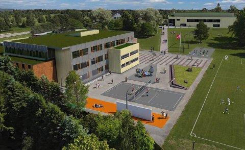 SKOLE OG HALL: Vormsund skal få nytt skoleanlegg i 2020. Oppe til venstre mellom trær skimtes Lillerommen, det gamle Nes herredshus.